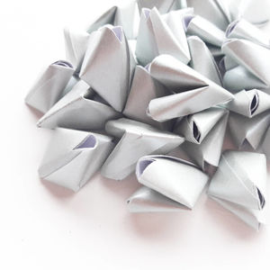 50 Metallic Silver Origami Heart Love Messages - wedding favours