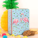 Tropical Flamingo Embossed Tin Of Biscuits