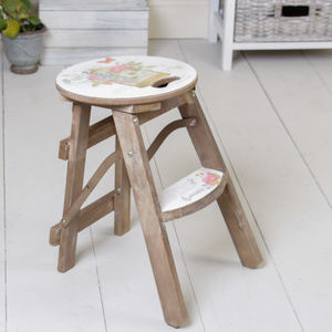 Wooden Birdcage Print Handy Stool