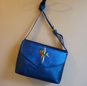 Metallic Midnight Blue Swallow Charm Handbag - bags & purses