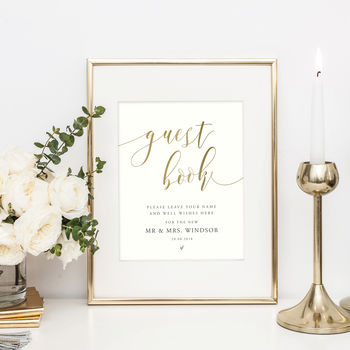 Personalised Wedding Table Sign | Guest Book Sign