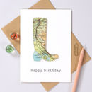 Personalised Map Welly Boot Birthday Card wales