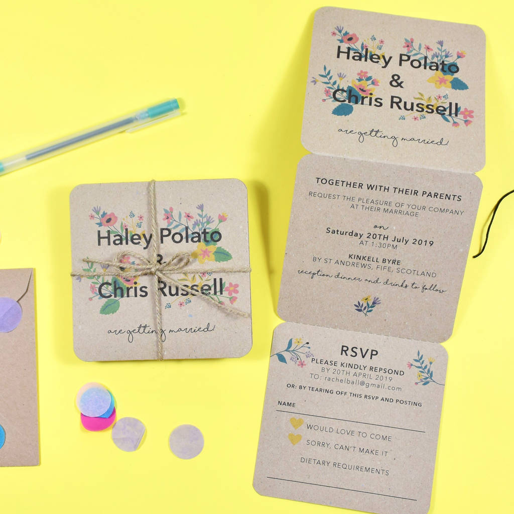 Fl Tri Fold Wedding Invitation