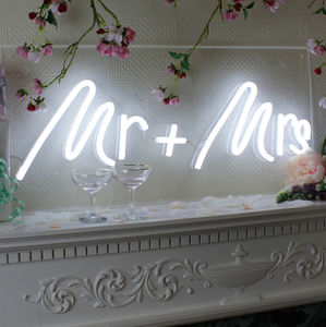 Mr And Mrs Wedding LED Neon Light Up Sign - room decorations