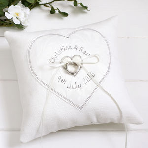Personalised Wedding Ring Pillow - embroidered & beaded cushions