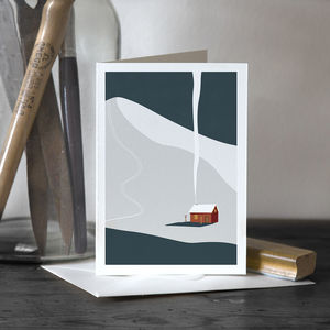 Winter Cabin Greetings Card - cards