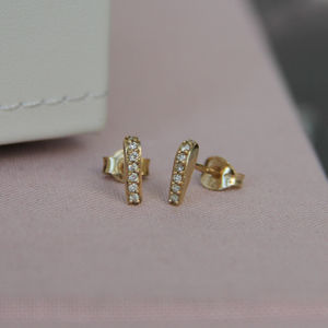 Diamond And Gold En Pointe Studs - earrings
