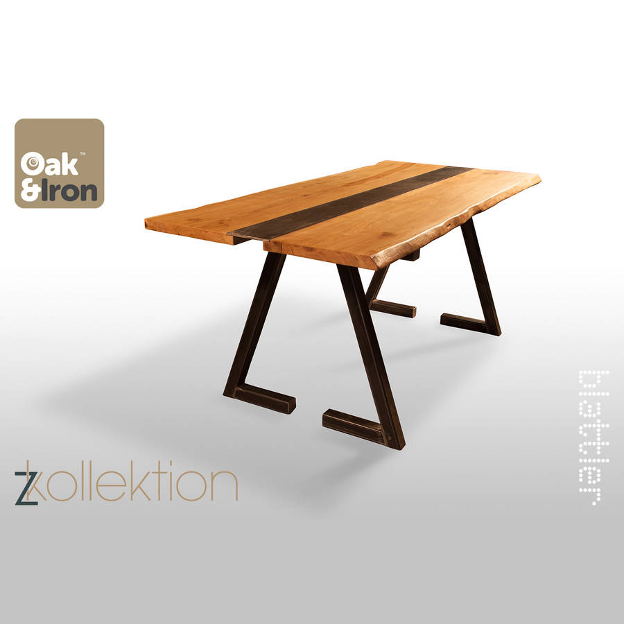 Z Kollektion Oak And Iron Dining Table By Oak Iron Furniture