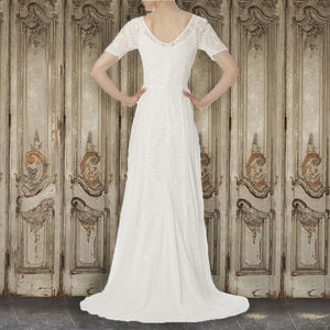 Ivory Georgette Evening Gown