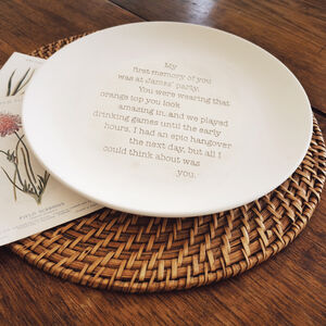 Engraved Pottery Memory Plate