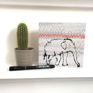 Grey Abstract Elephant Greeting Card Square - gifts