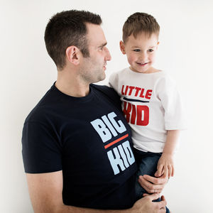 Personalised Big Kid Little Kid T Shirt Set - Mens T-shirts & vests
