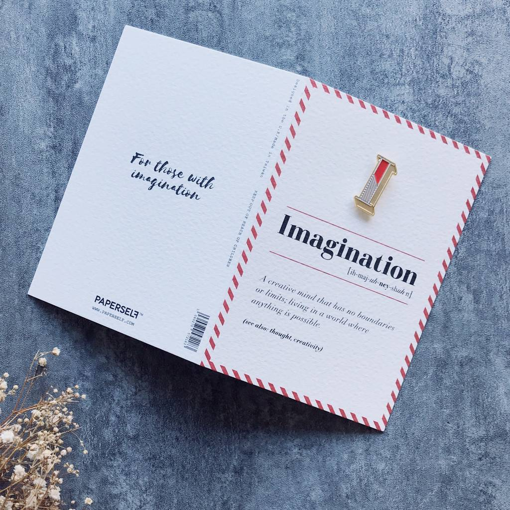 I Is For Imagination Pin Badge And Card