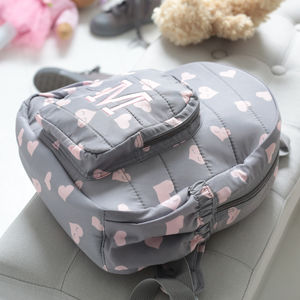 Personalised Heart Print Backpack