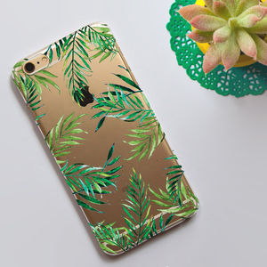 Clear Phone Case With Tropical Leaves Print