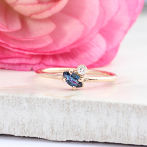 Athene Sapphire And Diamond 9ct Rose Gold Ring - rings