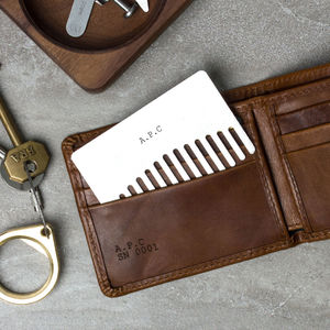 Personalised Stainless Steel Wallet Beard Comb