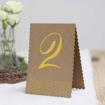 Set Of 12 Brown Card Table Numbers