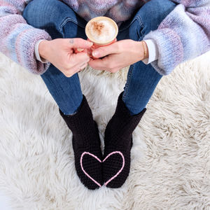 Hidden Love Heart Crochet Slipper Socks - best valentine's gifts for her