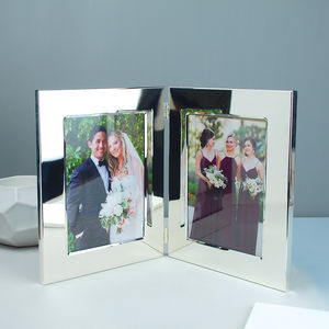 Personalised Silver Plated Double Photo Frame - picture frames