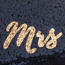 Black Or Navy Sequin Mrs Initial Clutch