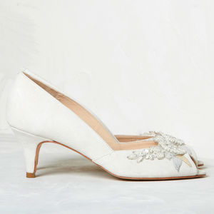 Ivory Suede Wedding Peep Toe Hazel - bridal shoes