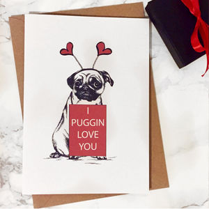 I Puggin Love You Valentines Card - shop by category