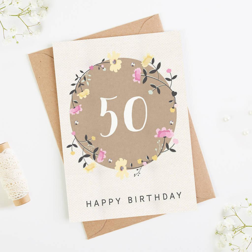 50th Birthday Card Floral