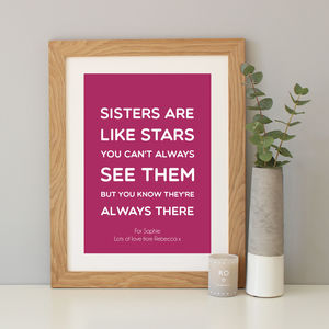 'Sisters Are Like Stars' Quote Print - family & home