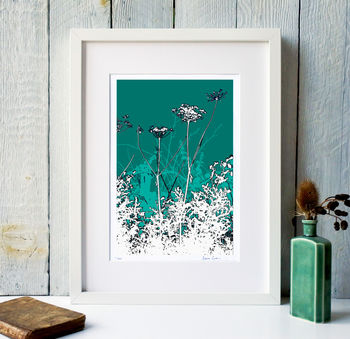 Turquoise background White frame
