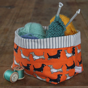 Dachshund Fabric Storage Pot - bedroom