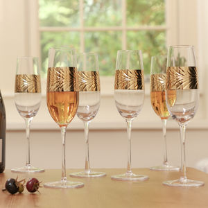 Feuille D'or Set Of Six Champagne Flutes - champagne glasses