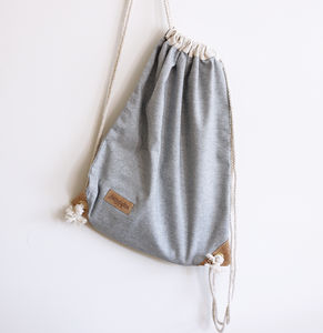 Chambray Denim Drawstring Bag