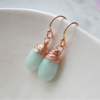 Amazonite And Rose Gold Drop Earrings