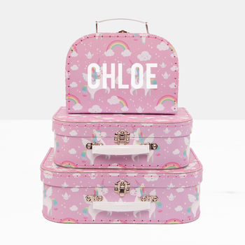 Personalised Unicorn Suitcase Storage Box Trio