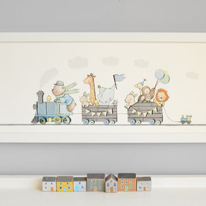 Personalised Framed Train Print - baby's room