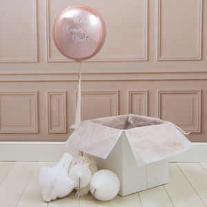 Personalised Here Comes The Bride Tassel Orb Balloon