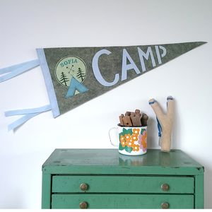 Personalised 'Camp' Pennant Flag - pictures & prints for children