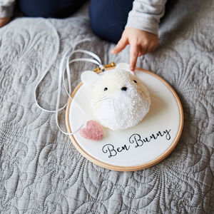 Pompom Bunny Personalised Hoop - gifts for babies