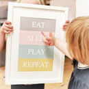 Eat, Sleep, Play, Repeat Nursery Print
