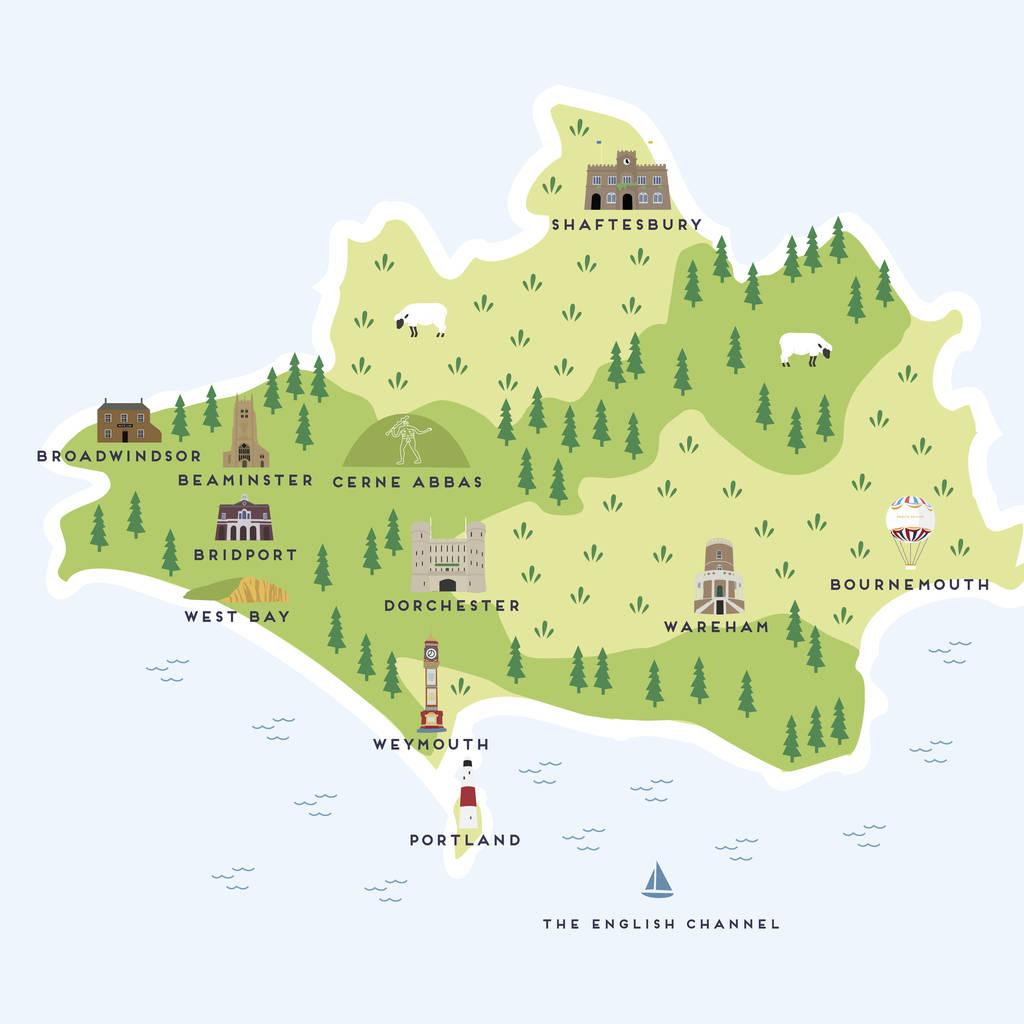 map of dorset print