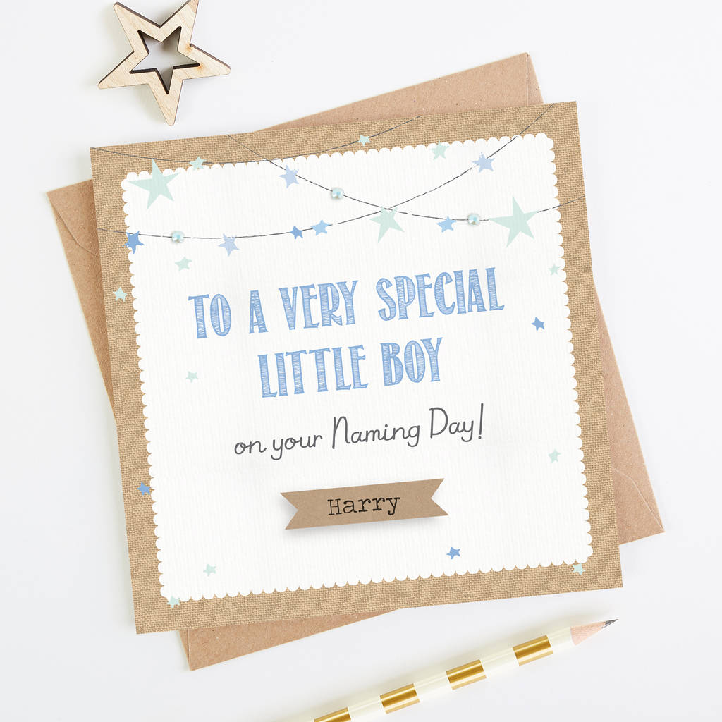 Personalised Blue Naming Day Card