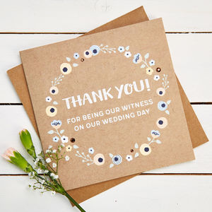 Thank You Witness Wedding Day Card - thank you cards