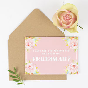Will You Be My Bridesmaid? Floral Wedding Card
