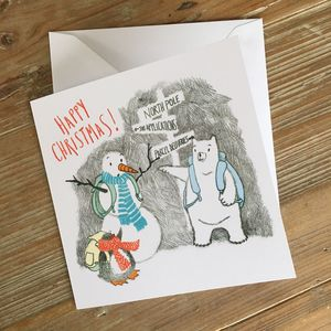 North Pole Monoprinted Christmas Card - winter sale