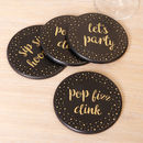 S/Four Black And Gold Celebration Coasters
