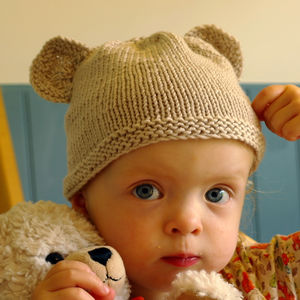 Baby Teddy Bear Hat Beginner Knit Kit