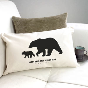 Personalised 'Daddy And Baby Bear' Silhouette Cushion - cushions