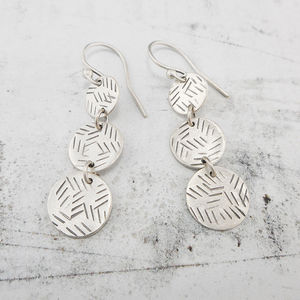 Disc Trio Silver Earrings - earrings