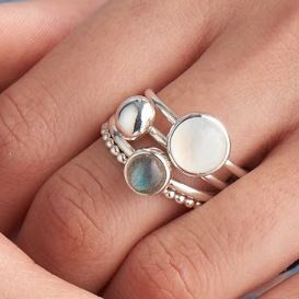 Mist Moonstone And Labradorite Stacking Rings - semi precious stones